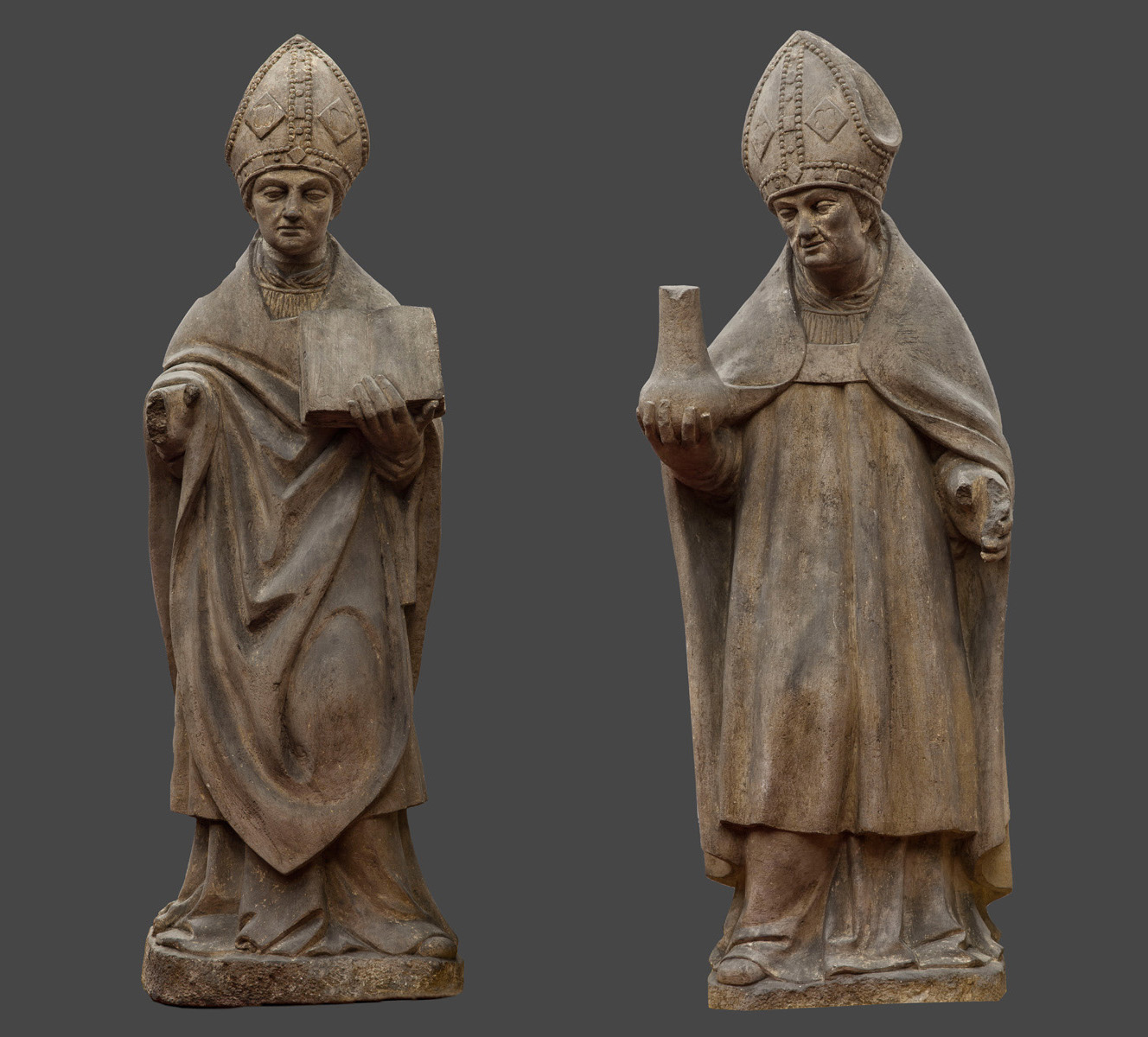 Burgundian sculptor close to Antoine Le Moiturier: 'Two Holy Bishops'
