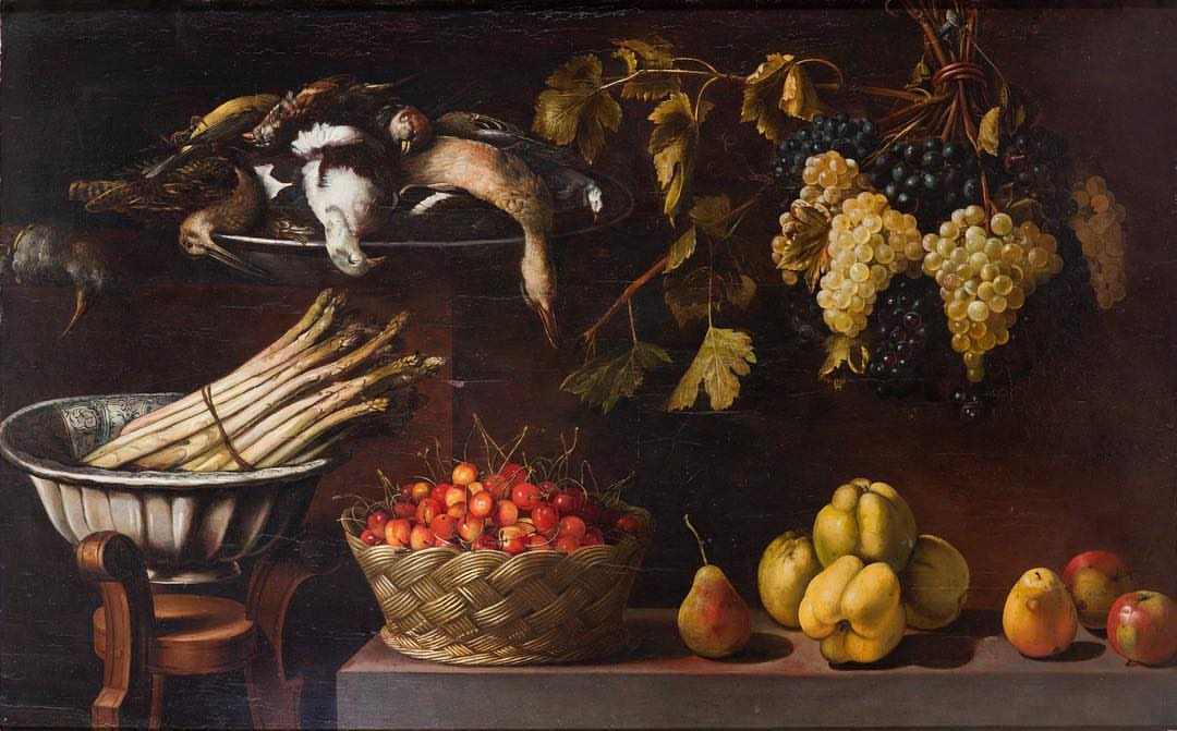Panfilo Nuvolone (Cremona 1581 – Milan 1651): 'Still Life with a Bowl of Asparagus on a Stool, a Basket of Cherries, Fruit and Game'