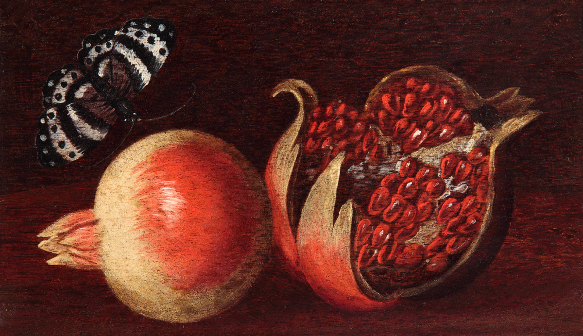 Agostino Verrocchio (active in Rome from 1619 to 1636): 'Two Pomegranates and a Flying Butterfly'